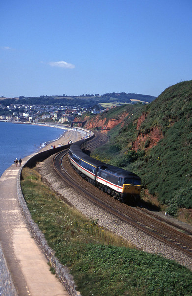 47827, 10.44 Plymouth-Manchester Piccadilly, Dawlish Warren, 25-7-96.