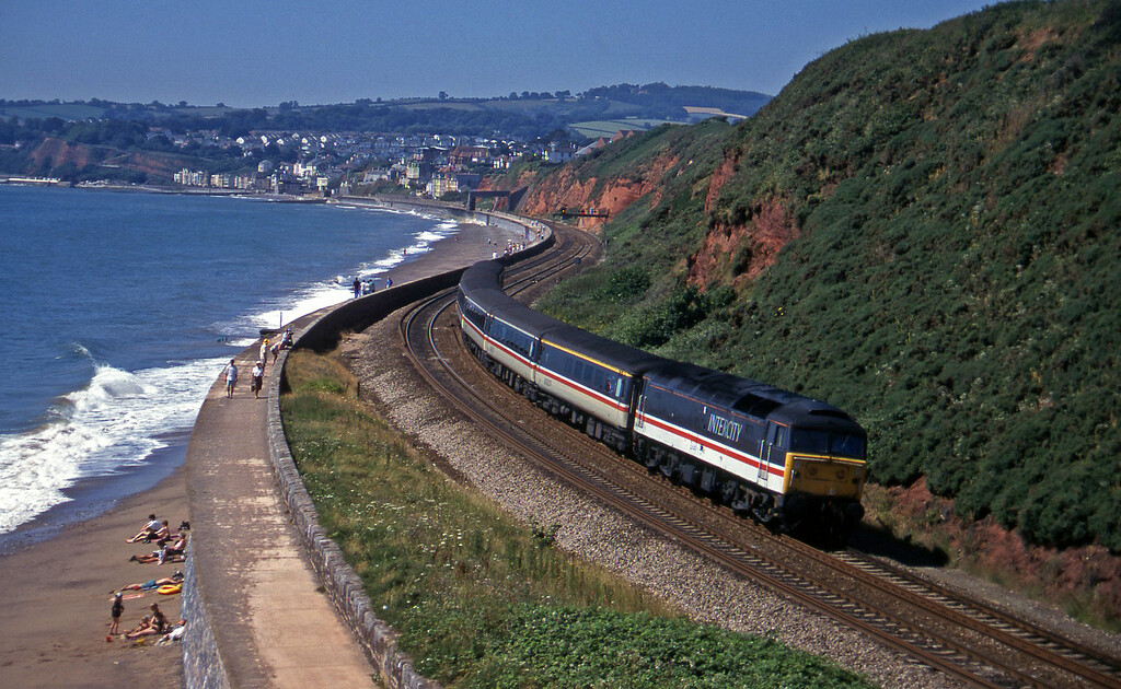 47814, 10.44 Plymouth-Manchester Piccadilly, Dawlish Warren, 18-7-96.