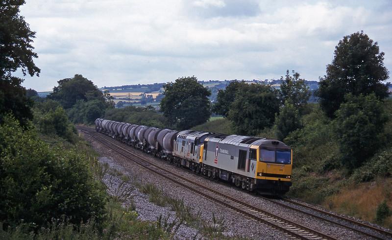 60015/37669, 09.40 Burngullow-Newport Alexandra Dock Junction Yard, Whiteball, 27-7-96.