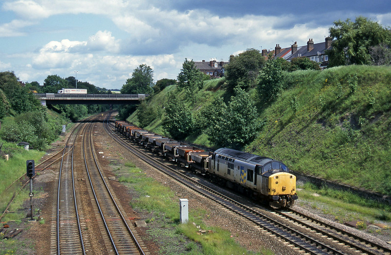 37519, up ballast empties, Rotherham Masborough, 12-6-96.