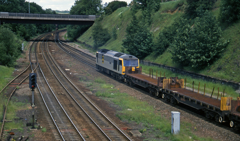 60004, down steel flats, Rotherham Masborough, 12-6-96.
