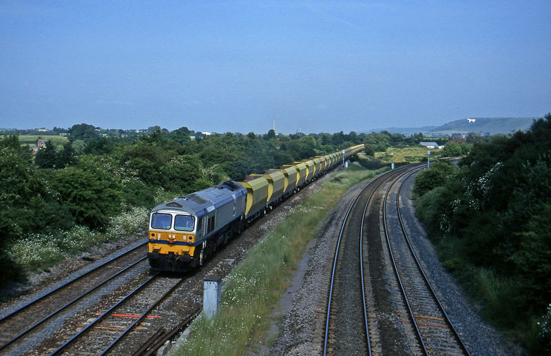 59001, down stone empties, Fairwood Junction, Westbury, 25-6-96.