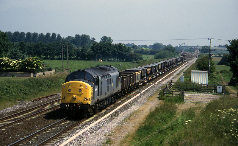 37162, down ballast empties to Taunton Fairwater Yard, Cogload, 18.6.96.