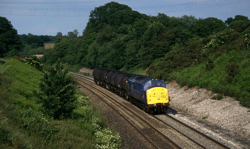 37803, 13.34 Fawley-Plymouth Tavistock Junction Yard, Whiteball, 21-6-96.