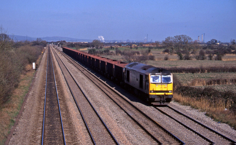 60037, down ore empties, St Mellons, Cardiff, 27-3-96.