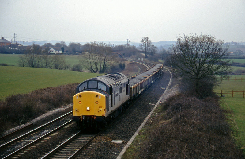 37715, up ballast, Willand, near Tiverton, 13-3-96.