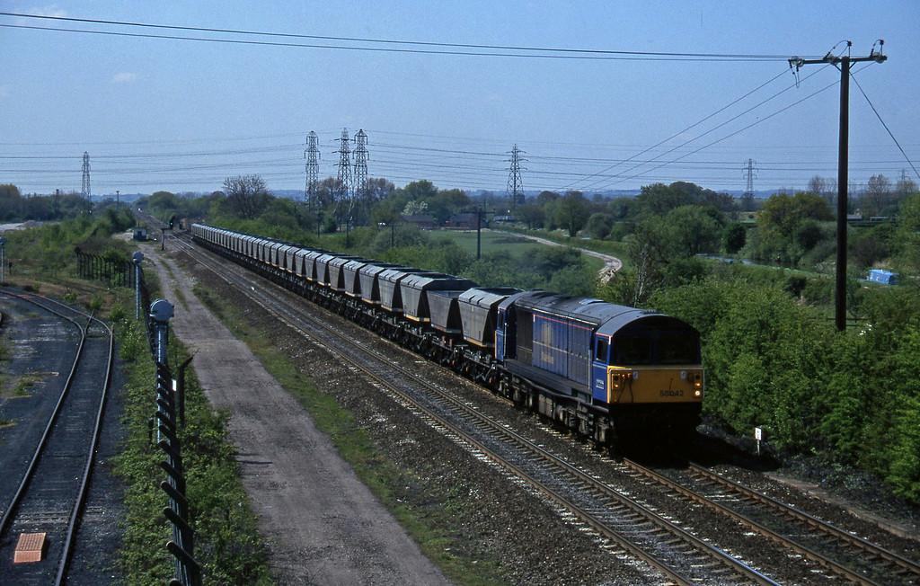 58042, down mgr empties, Stenson Junction, near Derby, 14-5-96.