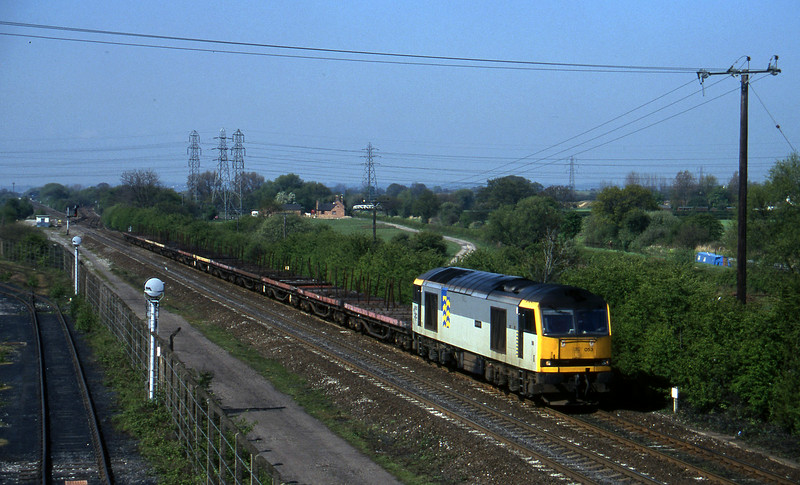 60053, down steel empties, Stenson Junction, near Derby, 14-5-96.