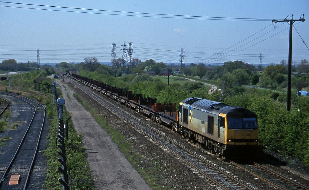 60023, down steel, Stenson Junction, near Derby, 14-5-96.