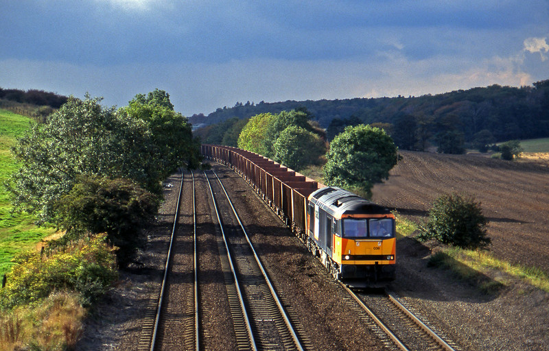 60038, eastbound ore empties, Melton Ross, near Barnetby, 1-10-96.
