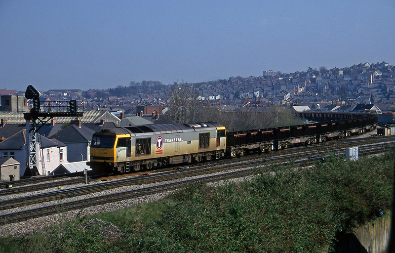 60089, down steel empties, from North and West route, Newport, 1-4-97.