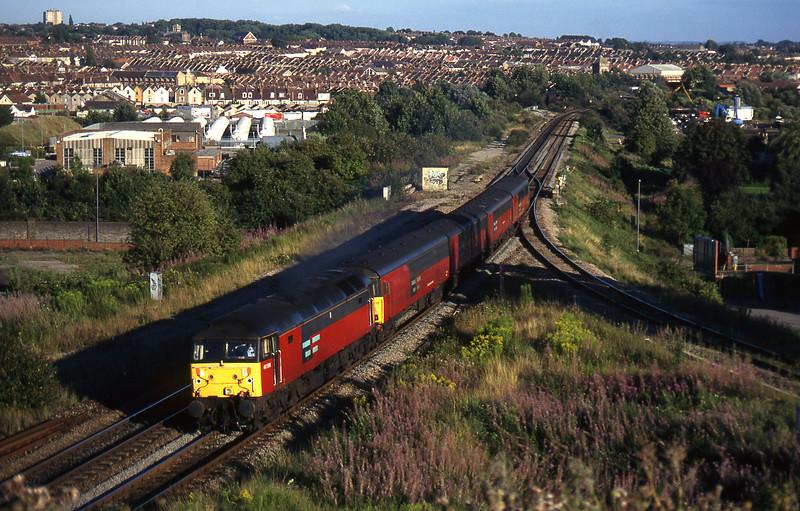 47758, 19.22 Bristol Temple Meads-Swansea, Narroways Hill Junction, Bristol, 13-8-97.