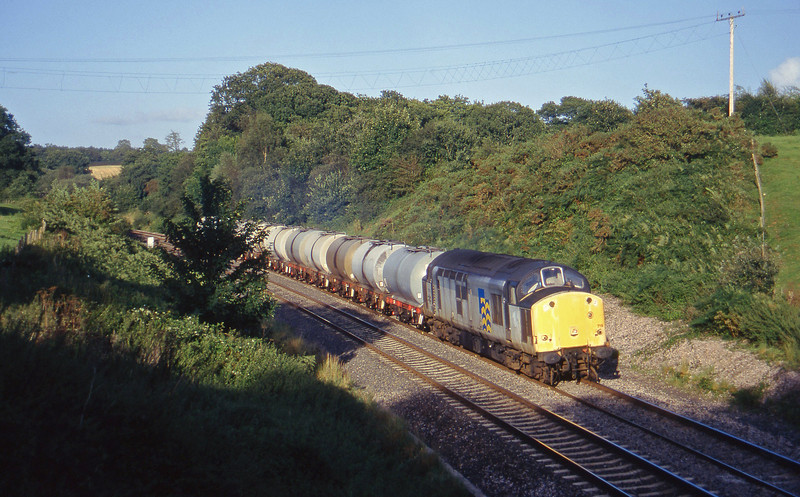 37719, 13.34 Fawley-Plymouth Tavistock Junction Yard, Whiteball, 27-8-97.