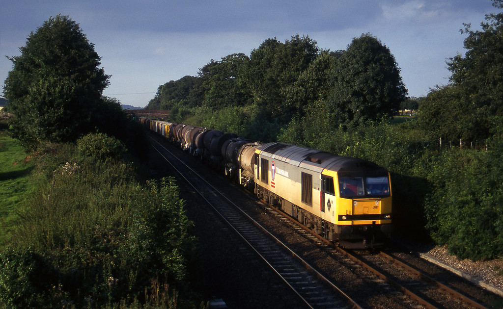 60081, 13.50 Newport Alexandra Dock Junction Yard-St Blazey, Willand, near Tiverton, 15-8-97.