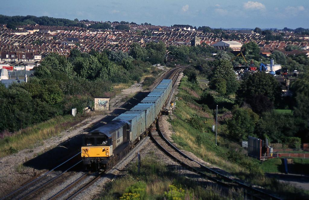 58020, 17.47 Baty RTS-Calvert, Narroways Hill Junction, Bristol, 13-8-97.