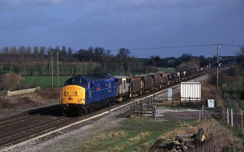 37216, down ballast empties, Cogload, 25-2-97.
