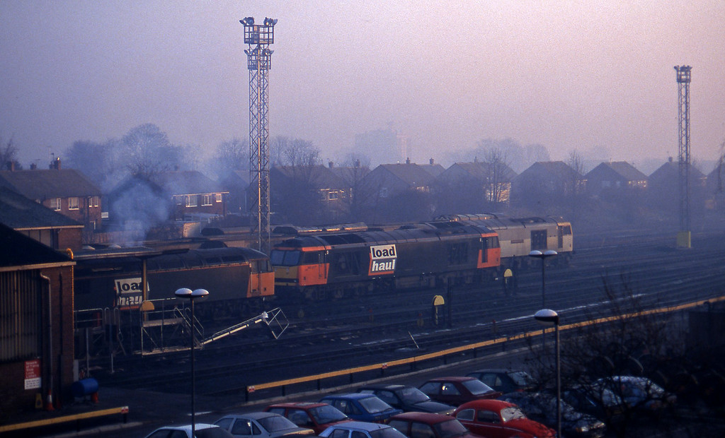 56116/60007/60003, stabled, Knottingley, 15-1-97.