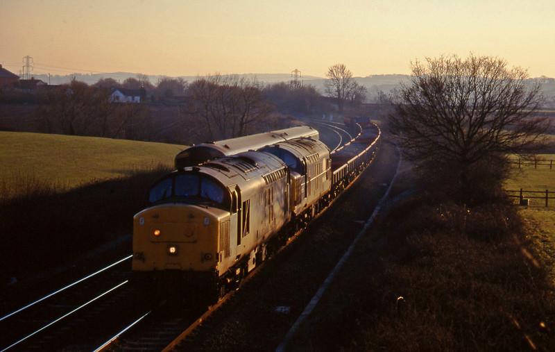 37676/37248, up ballast, Willand, near Tiverton, 21-1-97.