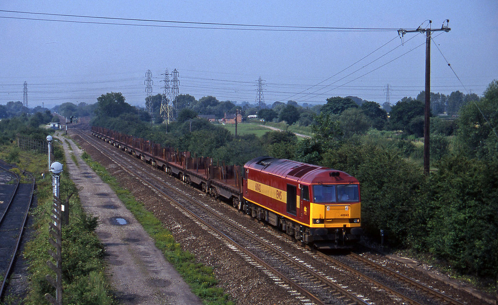 60042, 09.58 Etruria-Lackenby, Stenson Junction, near Derby, 8-7-97.