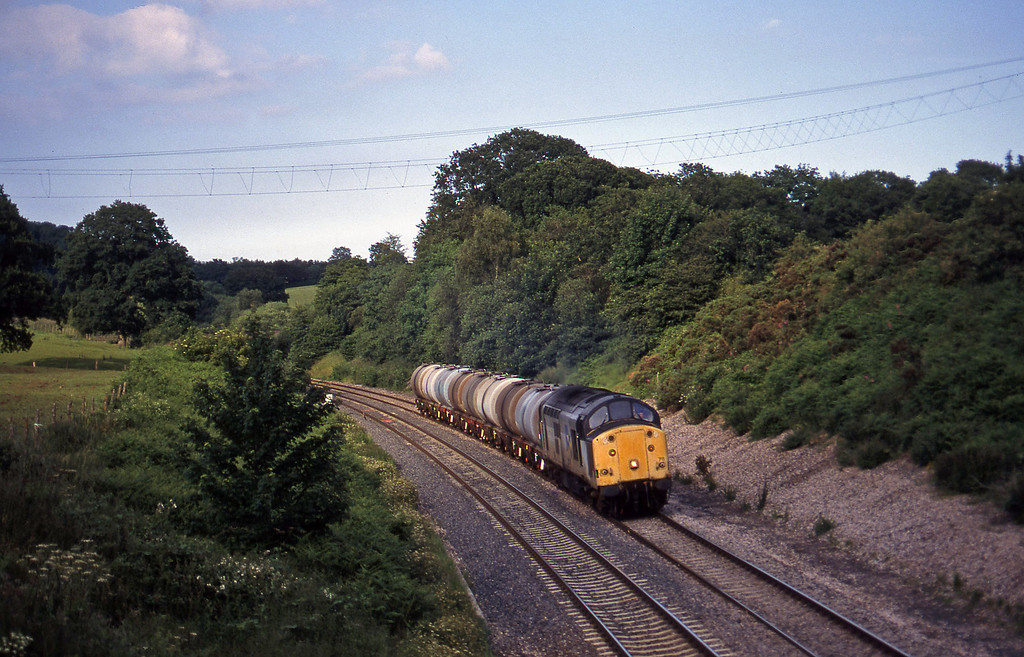 37711, 13.34 Fawley-Plymouth Tavistock Junction Yard, Whiteball, 7-7-97.