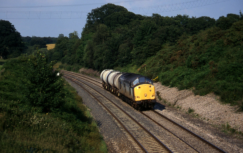 37711, 13.34 Fawley-Plymouth Tavistock Junction Yard, Whiteball, 21-7-97.