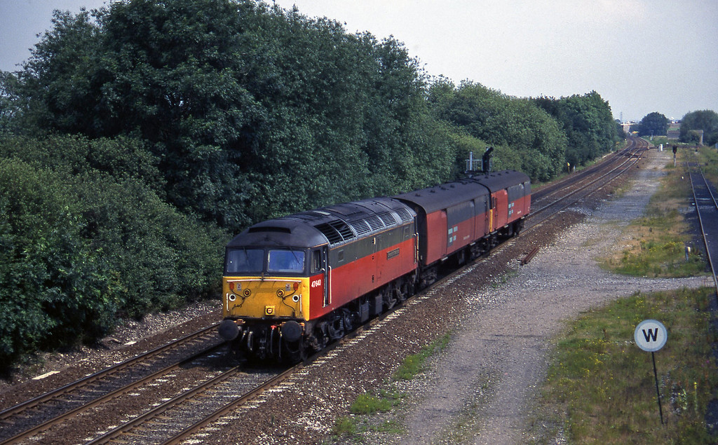 47640, up vans, Stenson Junction, near Derby, 8-7-97.