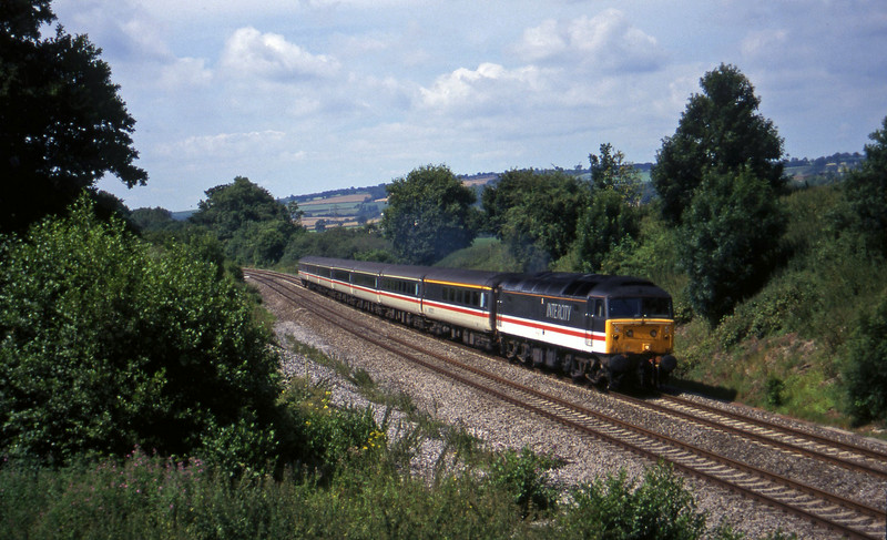 47826, 10.44 Plymouth-Mahcester Piccadilly,  Whiteball, 29-7-97.
