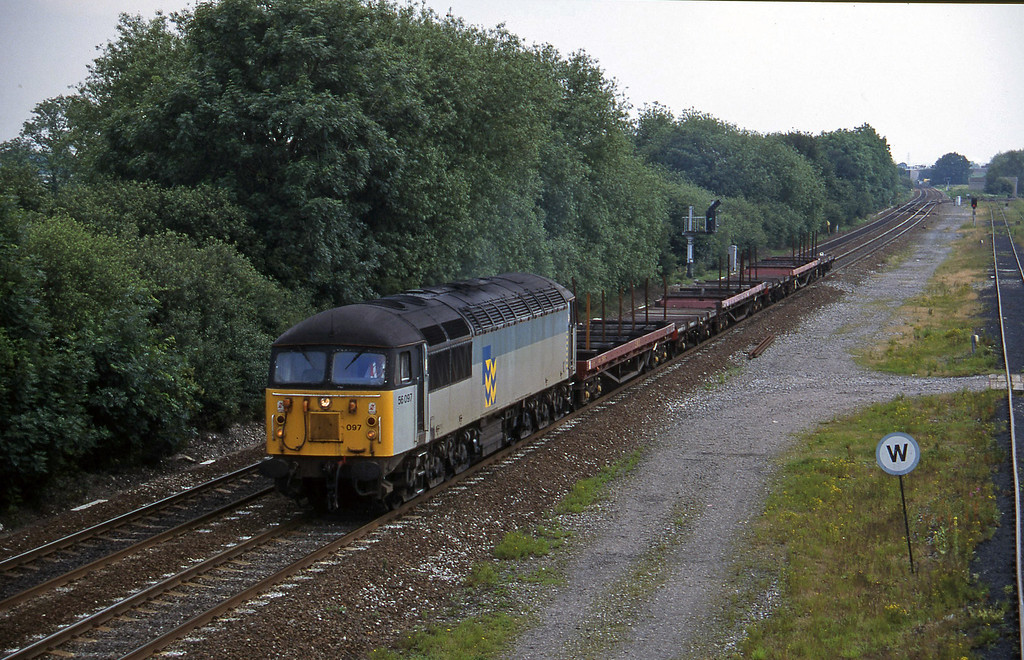 56097, 08.37 Tees Yard-Etruria, Stenson Junction, near Derby, 8-7-97.