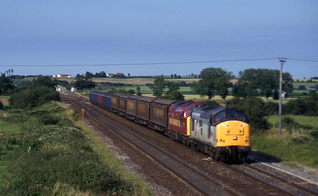 37673/37521, 3.45 Newport Alexandra Dock Junction-St Blazey, Cogload, 7-7-97.