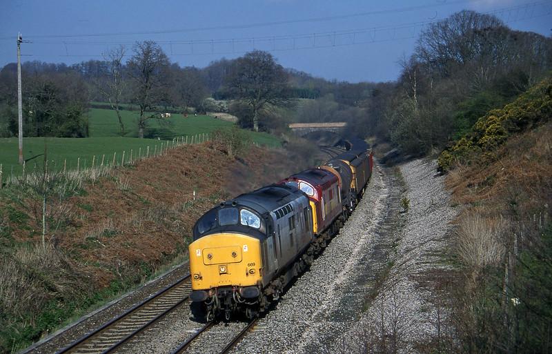 37669/37668, 13.45 Newport Alexandra Dock Junction-St Blazey, Whiteball, 31-3-97.