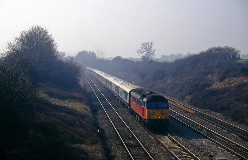 47765, 09.03 London Paddington-Cheltenham, Standish Junction, near Stroud, 11-3-97. Cheltenham Races special.