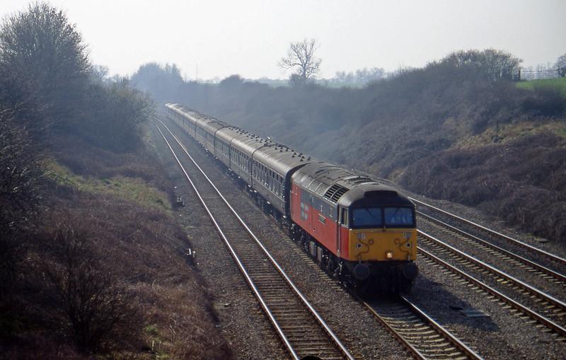 47787, 10.20 London Paddington-Cheltenham, Standish Junction, near Stroud, 11-3-97. Cheltenham Races special.