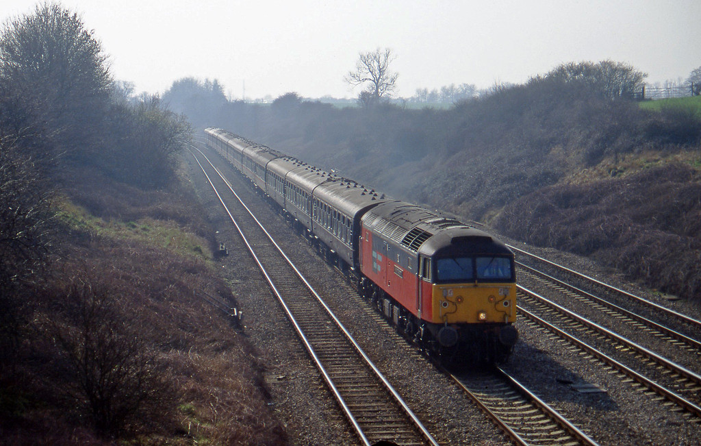 47787, 10.20 London Paddington-Cheltenham, Standish Junction, near Stroud, 11-3-97. Cheltenham Races special.