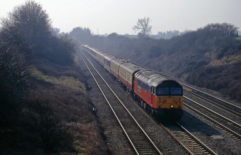 47777, 09.30 London Paddington-Cheltenham, Standish Junction, near Stroud, 11-3-97. Cheltenham Races special.