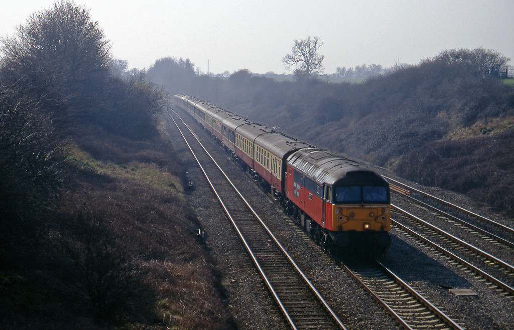 47777, 09.30 London Paddington-Cheltenham, Standish Junction, near Stroud, 11-3-97. Cheltenham Races special.
