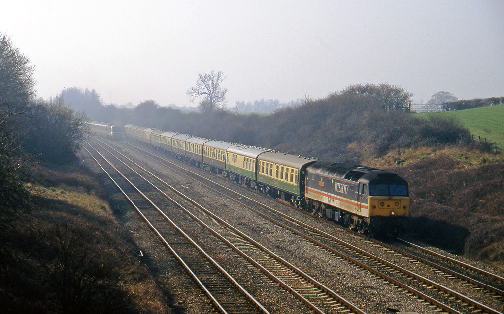 47845, 08.45 London-Paddington-Cheltenham, Standish Junction, near Stroud, 11-3-97. Cheltenham Races special.