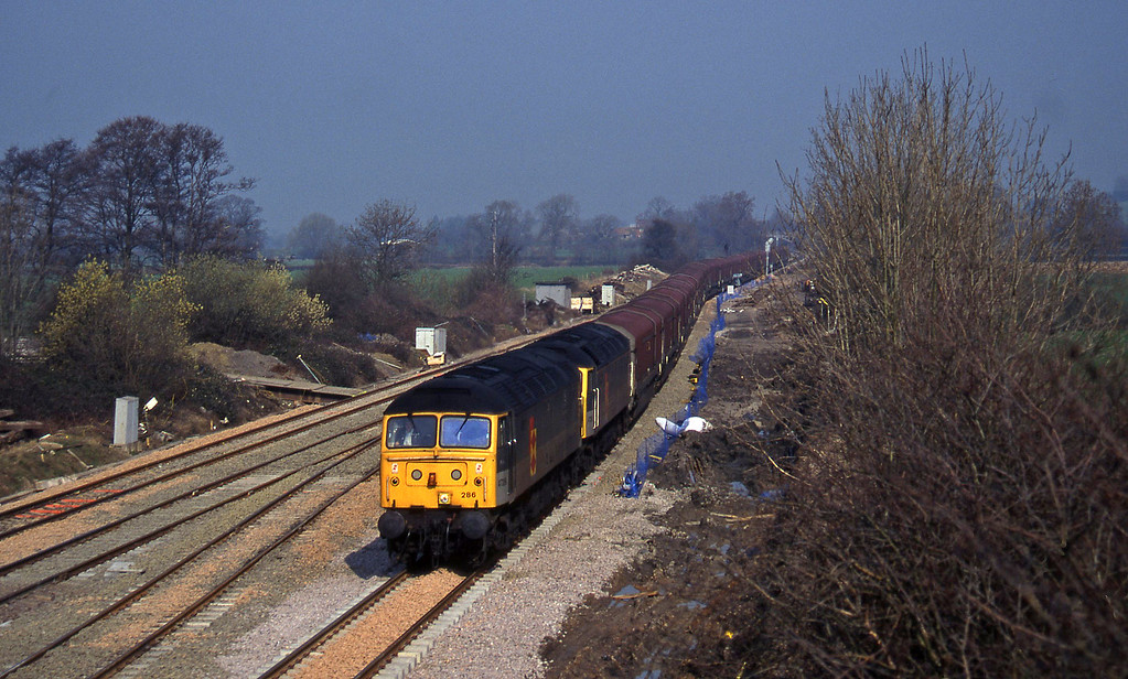 47286/47285, 10.35 Longbridge-Swindon, Standish Junction, near Stroud, 11-3-97.