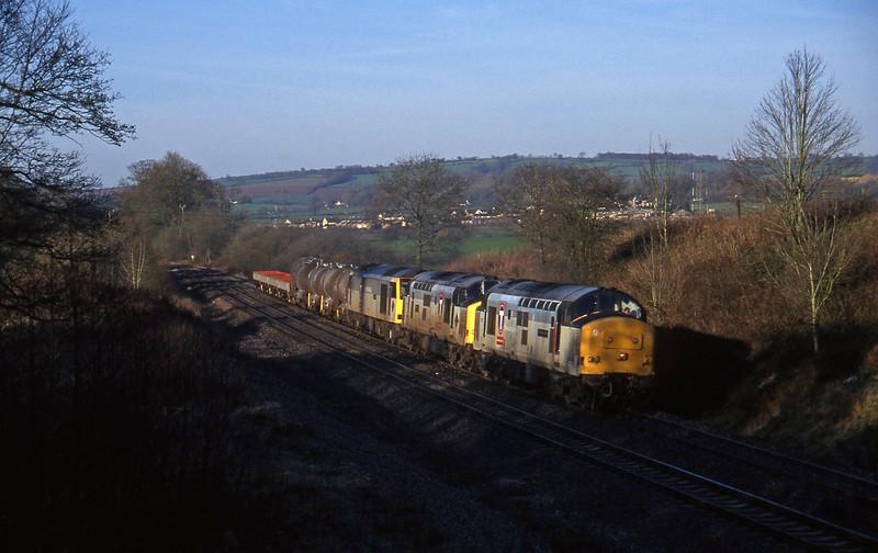 37671/37670/60096, 04.56 St Blazey-Newport Alexandra Dock Junction, Whiteball, 6-3-97.