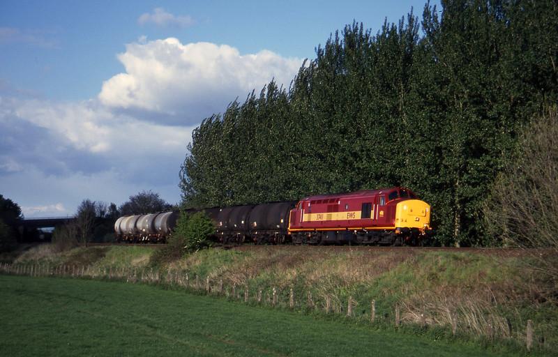 37411, 13.34 Fawley-Plymouth Tavistock Junction Yard, Beambridge, near Wellington, 6-5-97.