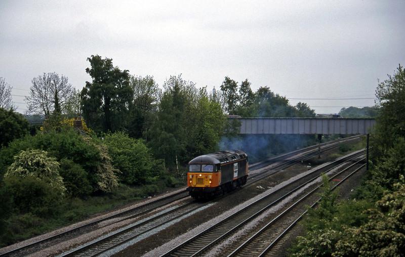 56102, down light from Knottingley, Monk Fryston, near Knottingley, 16-5-97.