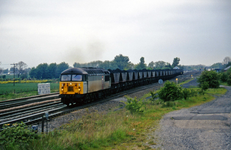 56066, up mgr from South Milford Sidings, Monk Fryston, near Knottingley, 16-5-97.