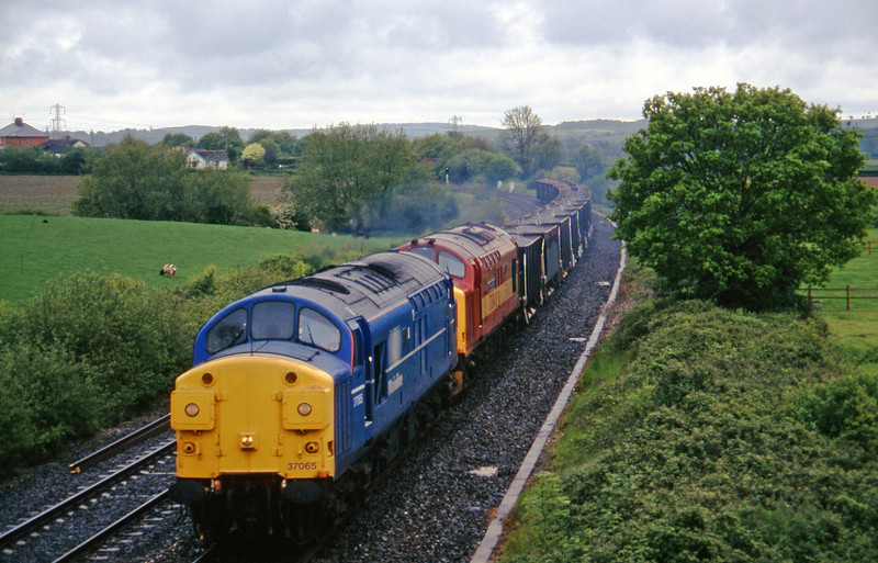 37065/37684, up ballast, Willand, near Tiverton, 20-5-97.