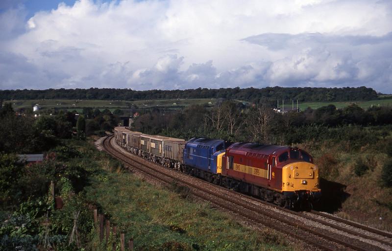 37695/37074, Hallen Marsh-Westbury, Brentry, Bristol, 7-10-97.