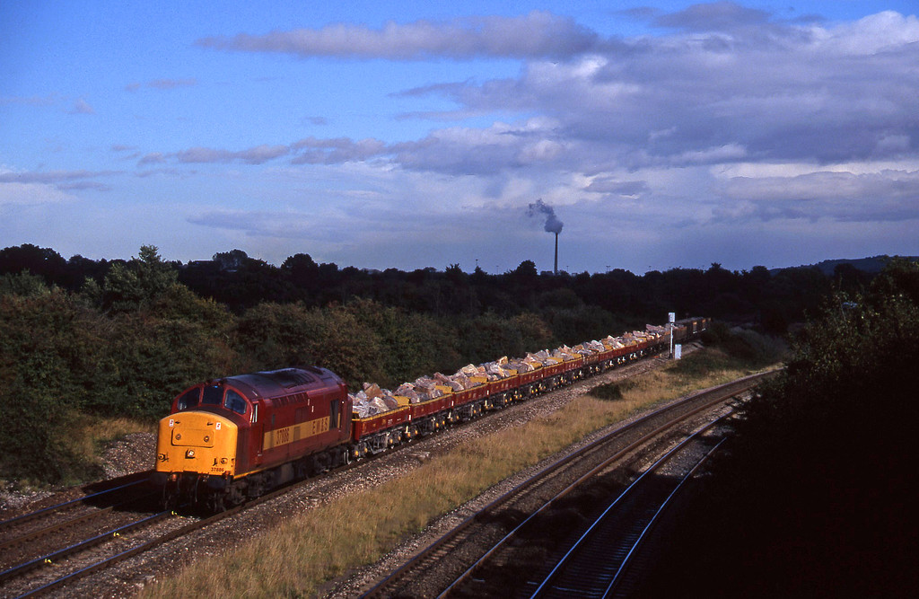 37886, 13.15 Merehead Quarry-Minehead, Fairwood Junction, Westbury, 7-10-97.
