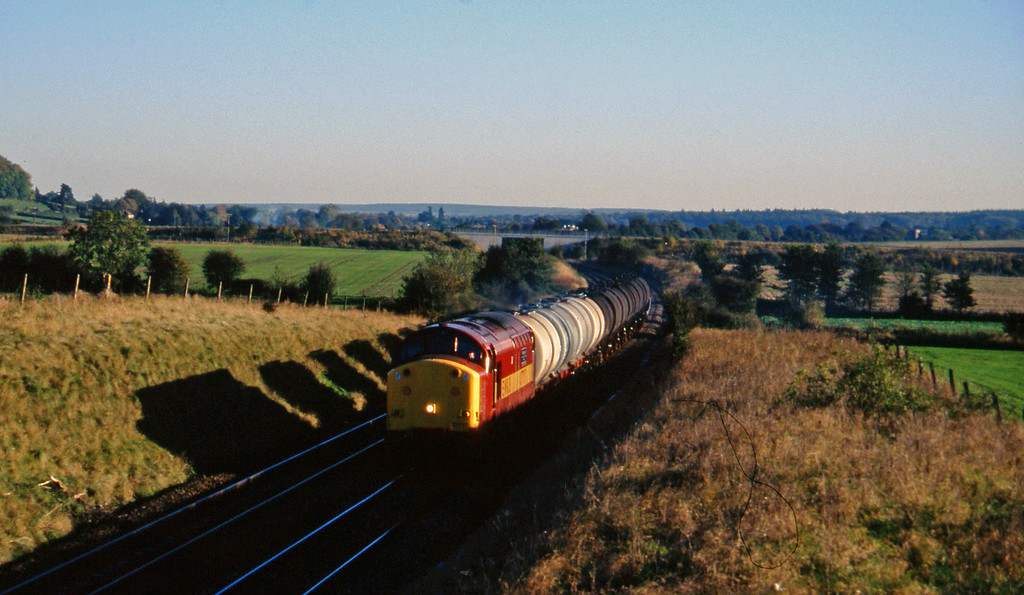 37717, 13.34 Fawley-Plymouth Tavistock Junction Yard, Upton Scudamore, near Warminster, 21-10-97.