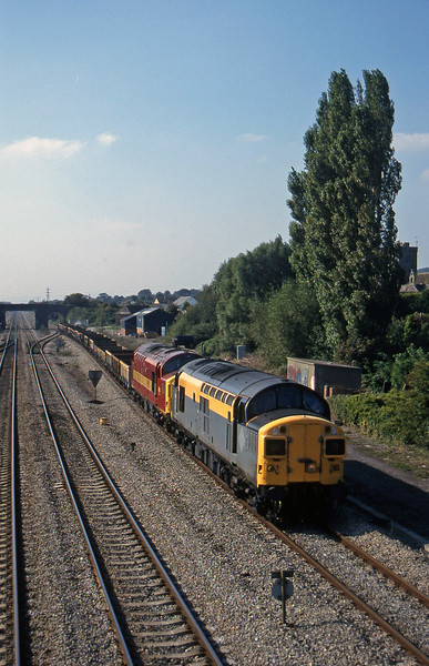 37106/37042, 14.20 Newport Alexandra Dock Junction Yard-Stud Farm, Magor, 23-9-97.