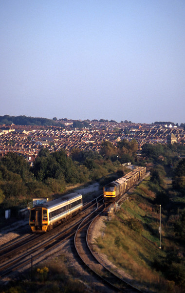 60066, Westbury-Hallen Marsh, 158843, up, Narroways Hill Junction, Bristol, 23-9-97.