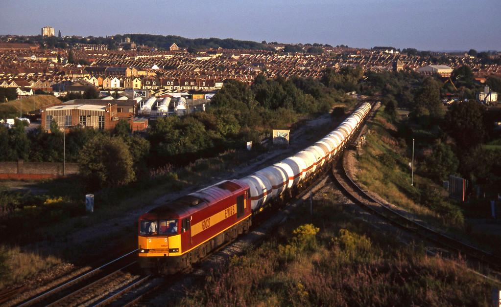 60027, 13.20 Furzebrook-Hallen Marsh, Narroways Hill Junction, Bristol, 9-9-97.