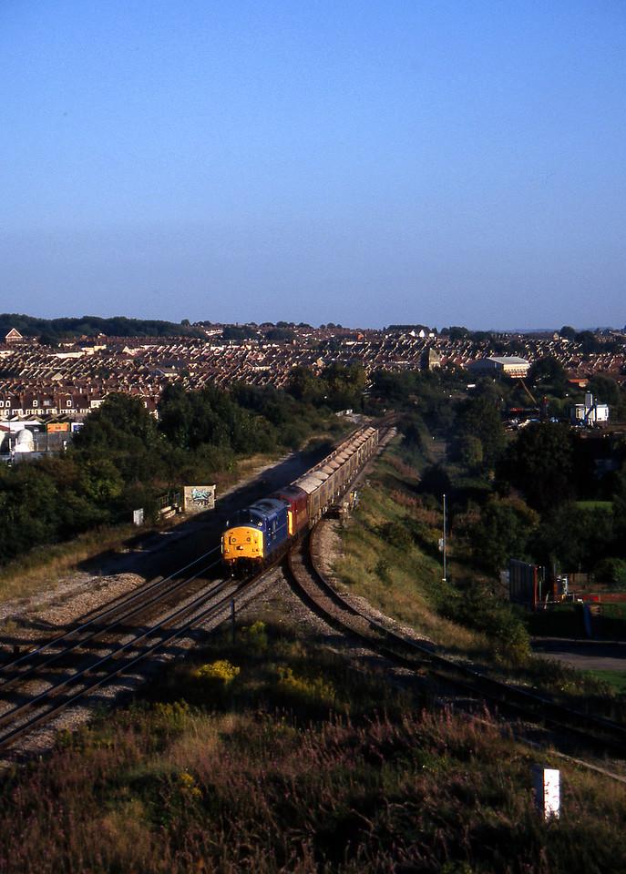 37219/37886, Westbury-Avonmouth stone, Narroways Hill Junction, Bristol, 9-9-97.