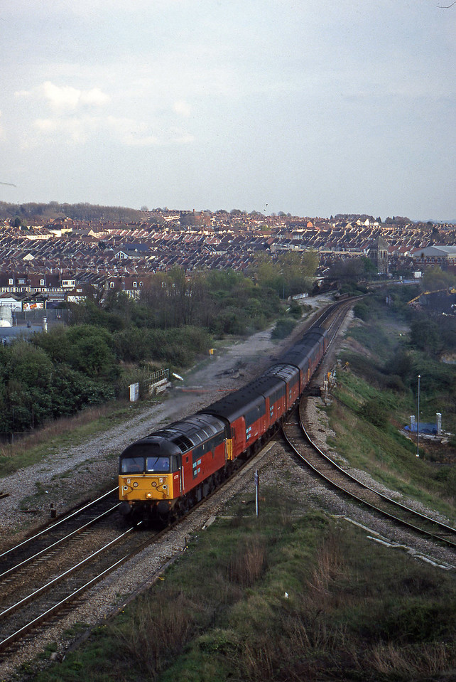 47791, 14.25 Swansea-London Willesden, Narroways Hill Junction, Bristol, 7-4-98.